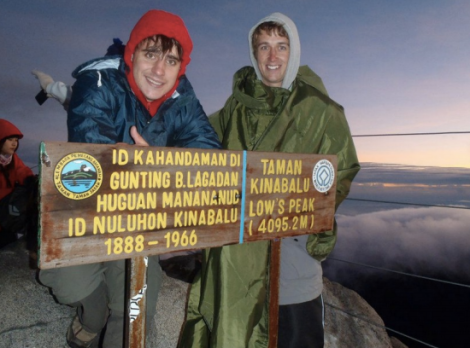 Reaching the summit of Mt Kinabalu - Malaysia's highest mountain.